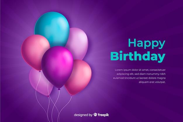 Fond D'anniversaire Avec Des Ballons Réalistes Vecteur gratuit