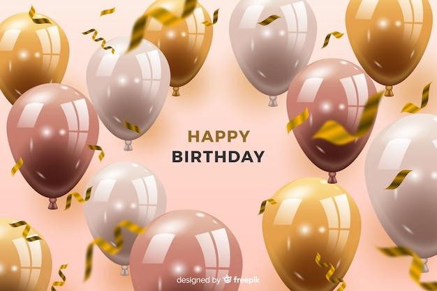 Fond d'anniversaire avec des ballons Vecteur gratuit