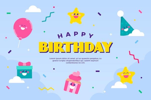 Fond D'anniversaire Avec Des Cadeaux Et Des Cônes Vecteur gratuit