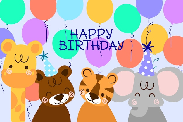 Fond D'anniversaire Dessiné à La Main Avec Des Animaux Et Des Ballons Vecteur gratuit