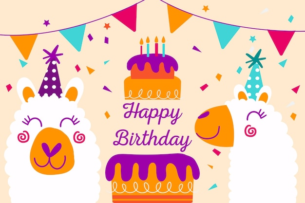 Fond D'anniversaire Dessiné Main Avec Gâteau Et Animaux Vecteur gratuit