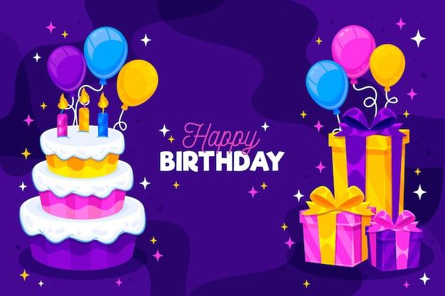 Fond D'anniversaire Détaillé Avec Gâteau Vecteur Premium