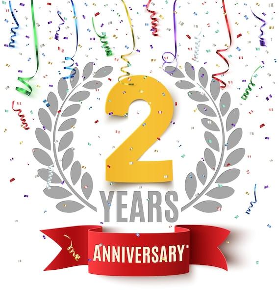 Fond D'anniversaire De Deux Ans Avec Ruban Rouge, Confettis Et Branche D'olivier Sur Blanc. Conception De Modèle De Carte De Voeux, Affiche Ou Brochure. Vecteur Premium