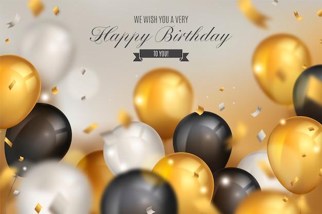Fond d'anniversaire élégant avec des ballons réalistes Vecteur gratuit