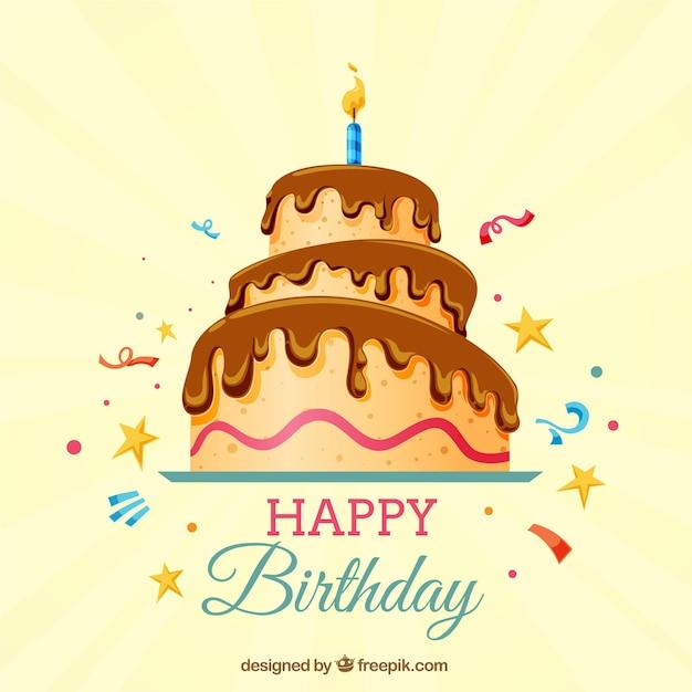 Fond D'anniversaire Avec Gâteau Vecteur gratuit