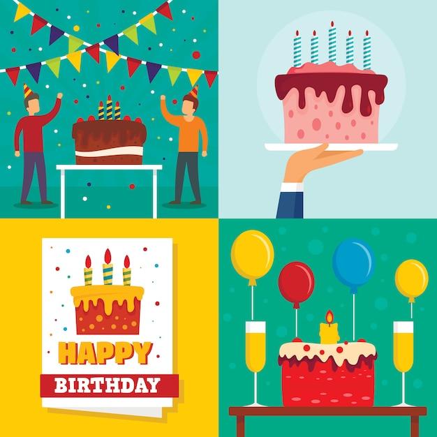 Fond d'anniversaire de gâteau Vecteur Premium