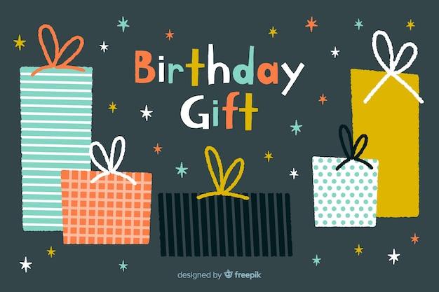 Fond d'anniversaire joyeux dessiné à la main Vecteur gratuit