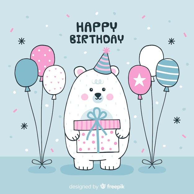 Fond d'anniversaire ours polaire dessiné à la main Vecteur gratuit