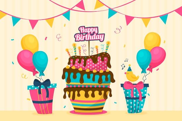 Fond D'anniversaire Plat Coloré Vecteur gratuit