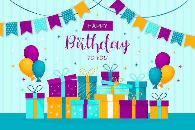 Fond D'anniversaire Plat Festif Vecteur gratuit