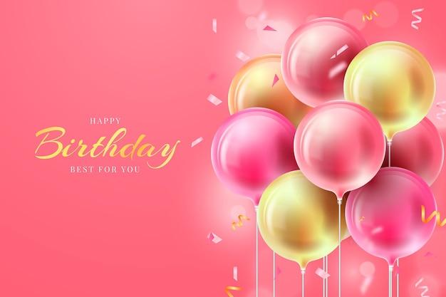 Fond D'anniversaire Réaliste Avec Des Ballons Vecteur gratuit