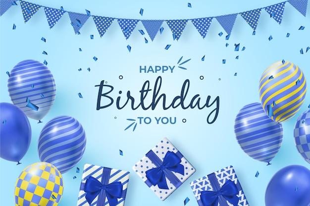 Fond D'anniversaire Réaliste Avec Des Ballons Vecteur Premium