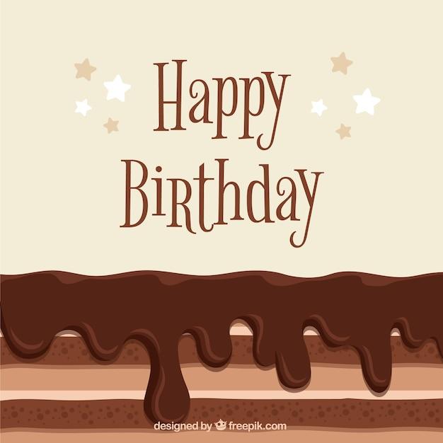 Fond D'anniversaire Savoureux Gâteau Au Chocolat Vecteur gratuit