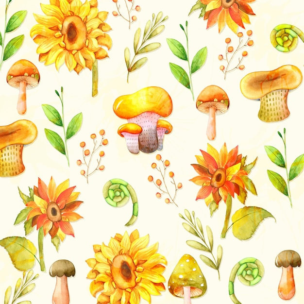 Fond d'aquarelle aux champignons et tournesol Vecteur Premium