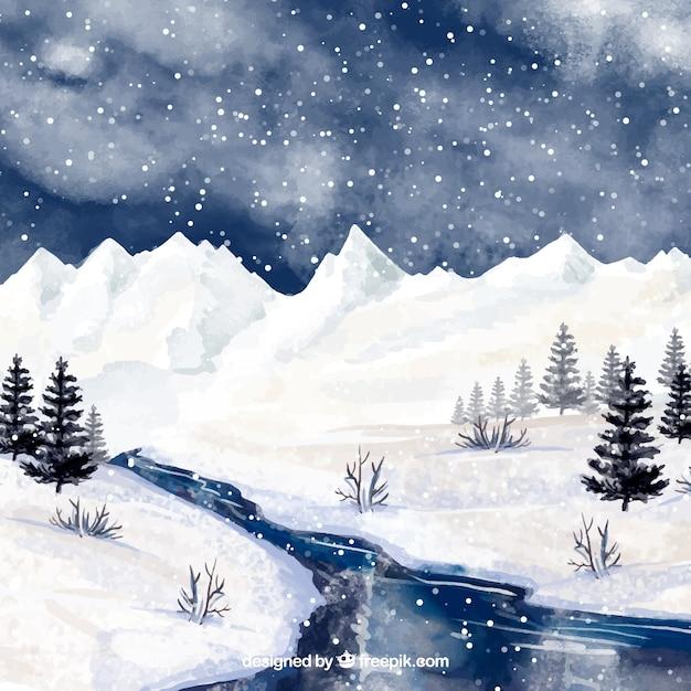fond aquarelle avec paysage d 39 hiver t l charger des vecteurs gratuitement. Black Bedroom Furniture Sets. Home Design Ideas