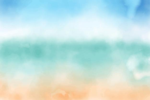 Fond Aquarelle Bleu Ciel Et Plage De Sable Vecteur Premium