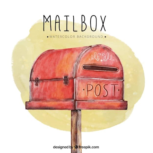Fond d'aquarelle avec boîte aux lettres rouge Vecteur gratuit