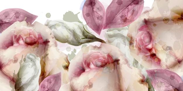 Fond aquarelle bouquet de fleurs de printemps Vecteur Premium