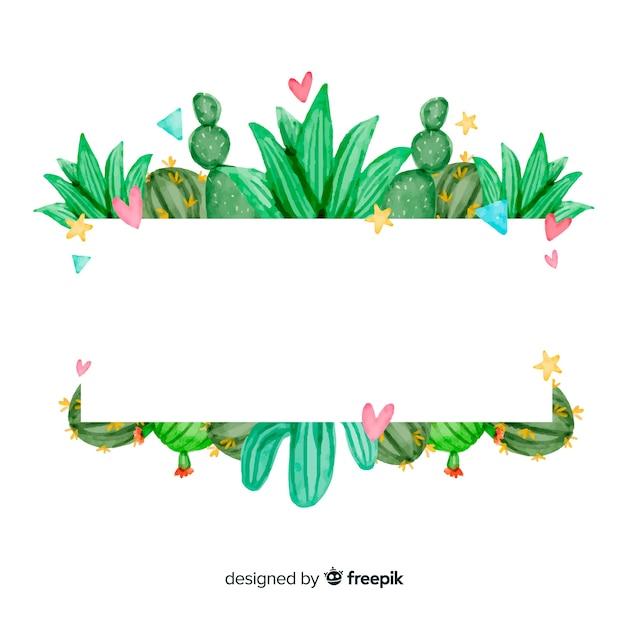 Fond aquarelle de cactus Vecteur gratuit
