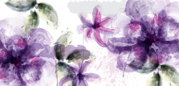 Fond aquarelle de fleurs violettes Vecteur Premium
