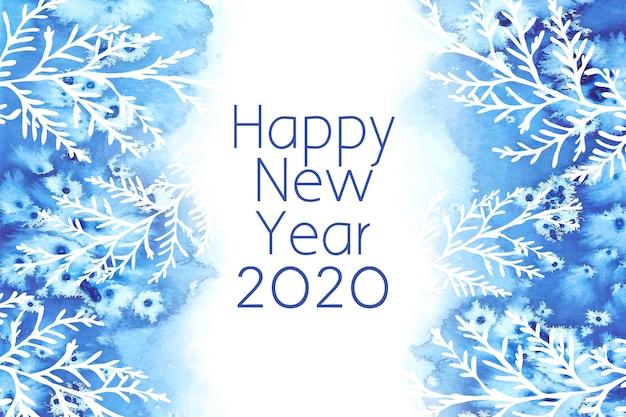 Fond aquarelle nouvel an 2020 Vecteur gratuit