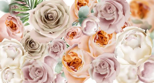 Fond aquarelle de roses Vecteur Premium