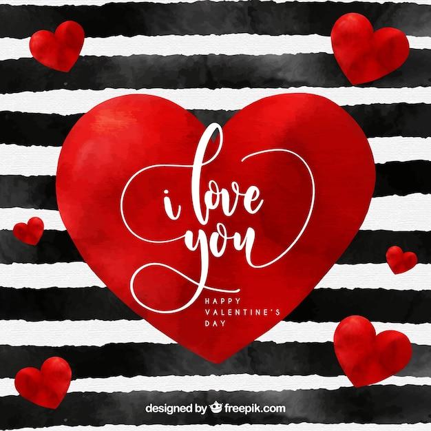 Fond aquarelle saint valentin avec rayures et coeur rouge - Image st valentin a telecharger gratuitement ...