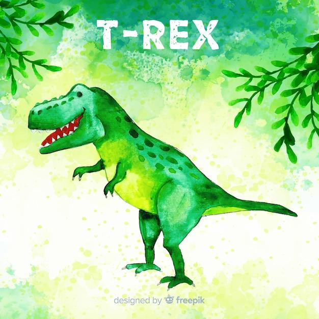 Fond d'aquarelle t-rex Vecteur gratuit