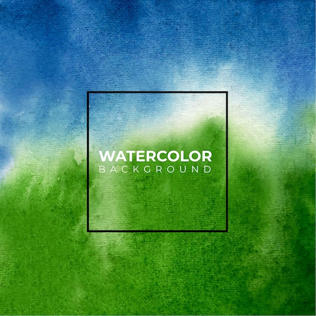 Fond Aquarelle De Texture Bleu Et Vert, Peinture à La Main. Vecteur Premium