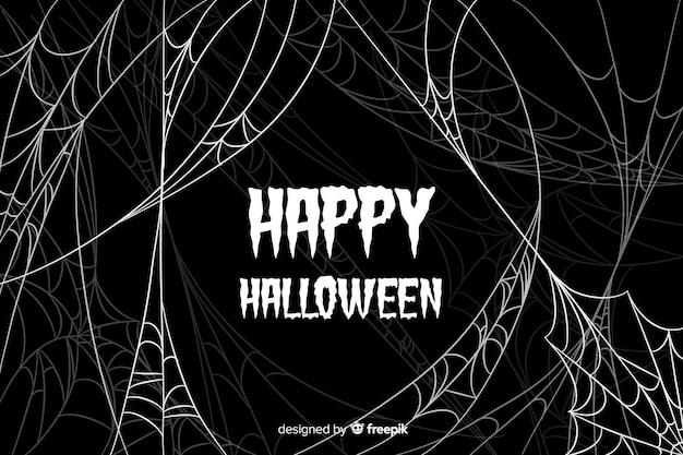 Fond d'araignée plate halloween Vecteur gratuit