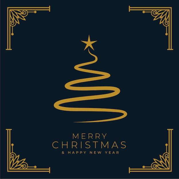 Fond D'arbre De Noël Joyeux Style Plat Vecteur gratuit