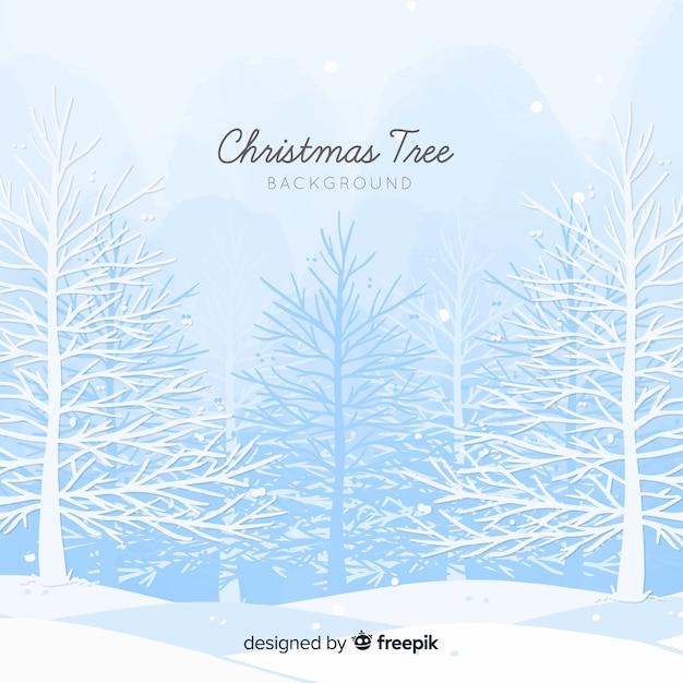 Fond d'arbres enneigés Vecteur gratuit