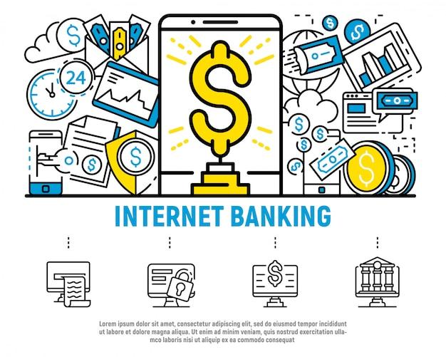 Fond d'argent concept bancaire internet, style de contour Vecteur Premium