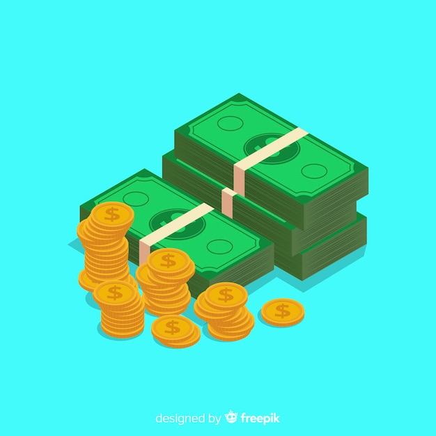 Fond d'argent isométrique Vecteur gratuit