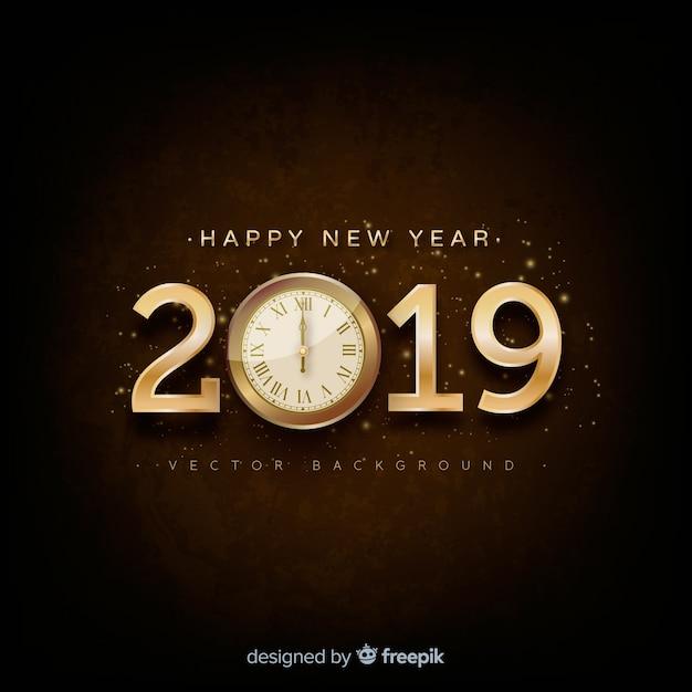 Fond argenté du nouvel an 2019 Vecteur gratuit