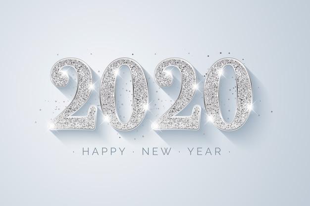 Fond argenté nouvel an 2020 Vecteur gratuit