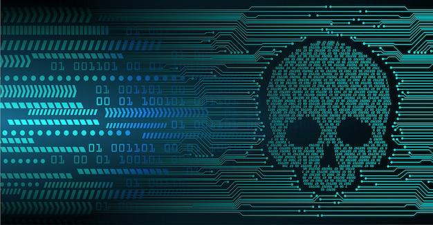 Fond d'attaque de pirate informatique, vecteur de crâne Vecteur Premium