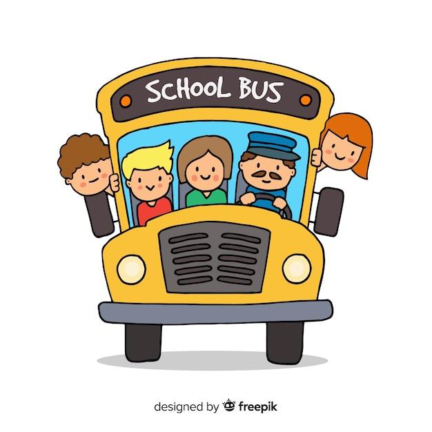 Fond d'autobus scolaire Vecteur gratuit