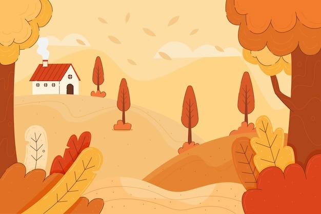Fond D'automne Coloré Avec Paysage Vecteur gratuit