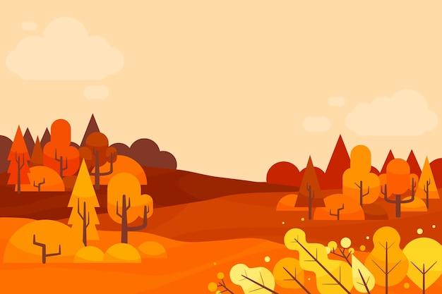 Fond D'automne Design Plat Avec Des Arbres Vecteur gratuit