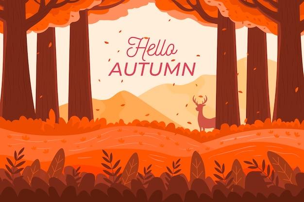 Fond D'automne Design Plat Avec Texte D'automne Bonjour Vecteur gratuit