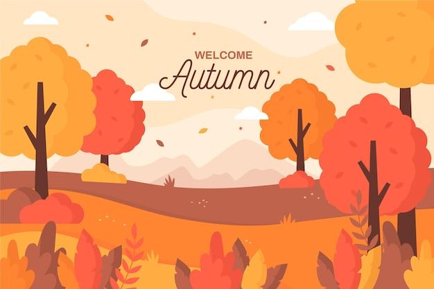 Fond D'automne Design Plat Vecteur Premium