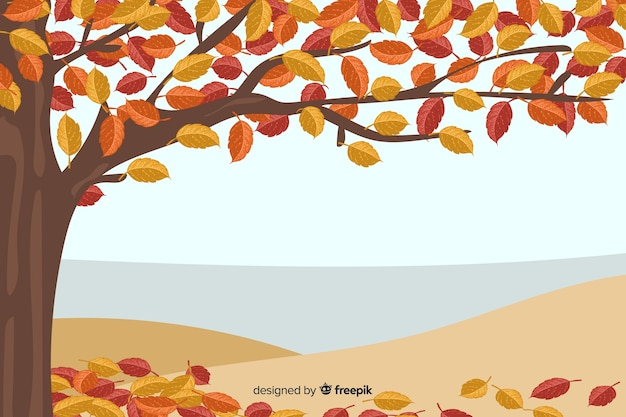 Fond d'automne dessiné à la main Vecteur gratuit