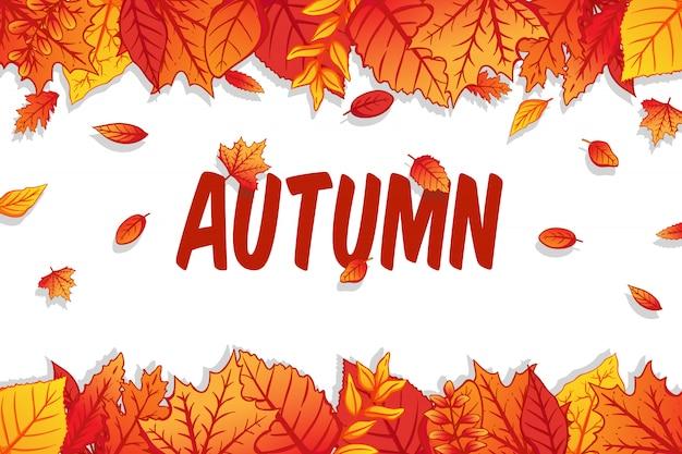 Fond d'automne avec des feuilles colorées sur fond blanc Vecteur Premium