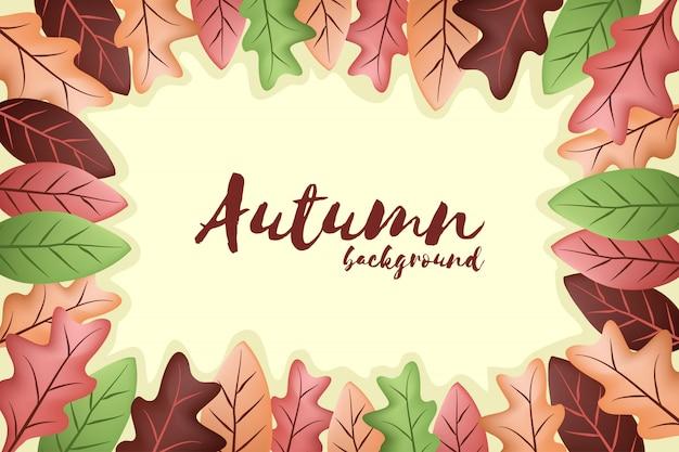 Fond d'automne avec des feuilles qui tombent Vecteur Premium