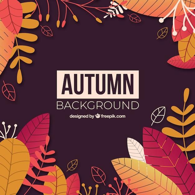 Fond d'automne avec des feuilles Vecteur gratuit