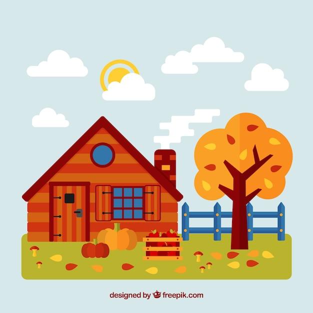 Fond d'automne avec une maison rouge Vecteur gratuit