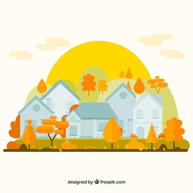 Fond d'automne avec des maisons Vecteur gratuit