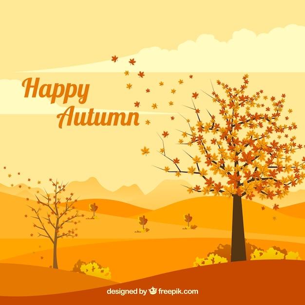 Fond D'automne Avec Paysage Vecteur gratuit