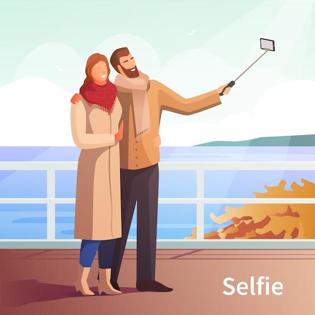 Fond d'automne selfie Vecteur gratuit